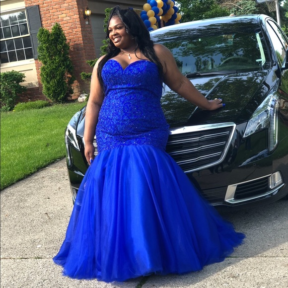 Plus Size Royal Blue Mermaid Prom Dress
